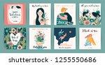 romantic set of cute...   Shutterstock .eps vector #1255550686