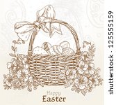 Happy Easter Card With A Baske...