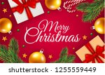 merry christmas gift box... | Shutterstock . vector #1255559449