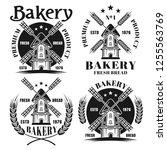 bakery set of four vector... | Shutterstock .eps vector #1255563769