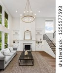 living room in luxury home with ... | Shutterstock . vector #1255577593
