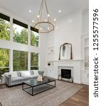 living room in luxury home with ... | Shutterstock . vector #1255577596