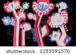 decorative flowers folk | Shutterstock .eps vector #1255591570
