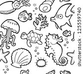 sea life pattern seamless... | Shutterstock .eps vector #125559740