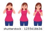 set of young woman closing... | Shutterstock .eps vector #1255618636