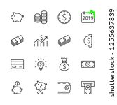 Stock vector set of money related vector line icons contains such icons as money bag piggy bank in the form of 1255637839