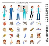 allergy icons  medical care for ... | Shutterstock .eps vector #1255639576