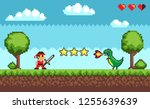 pixel retro style of 8bit game... | Shutterstock .eps vector #1255639639