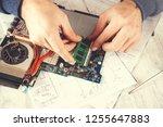 man hand computer processor on... | Shutterstock . vector #1255647883