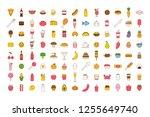 set of vector cartoon food icon ... | Shutterstock .eps vector #1255649740