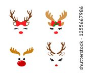 set of a cute reindeer face... | Shutterstock .eps vector #1255667986
