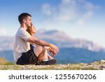 marveling the view from the top ... | Shutterstock . vector #1255670206