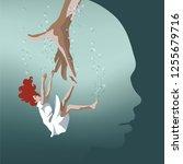 neuroscience   hand saving... | Shutterstock .eps vector #1255679716