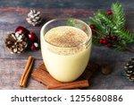 winter drink  eggnog ... | Shutterstock . vector #1255680886
