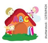 three children around the house ... | Shutterstock .eps vector #125569424
