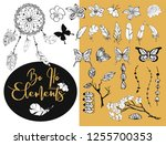 set of hand drawn doodle boho... | Shutterstock .eps vector #1255700353