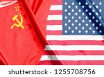 usa and ussr half flags together | Shutterstock . vector #1255708756