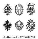 lily flowers royal symbols ... | Shutterstock .eps vector #1255709233