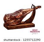 dry cured pork vector sketch... | Shutterstock .eps vector #1255712290