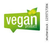 vegan product label sign green   Shutterstock .eps vector #1255717306