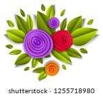 flowers and leaves beautiful... | Shutterstock .eps vector #1255718980