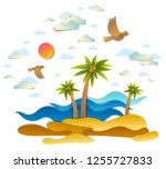 beautiful seascape with sea... | Shutterstock .eps vector #1255727833