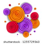 design with flowers in paper... | Shutterstock .eps vector #1255729363