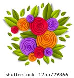 design with flowers and leaves... | Shutterstock .eps vector #1255729366