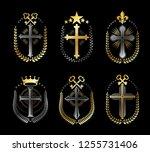 christian crosses emblems set.... | Shutterstock .eps vector #1255731406