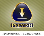 gold badge with download icon... | Shutterstock .eps vector #1255737556