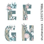 decorative set floral pattern... | Shutterstock .eps vector #1255737886