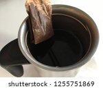 tea bag in mug top down view...   Shutterstock . vector #1255751869