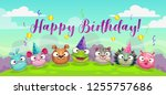 happy dirthday greetings. cute... | Shutterstock .eps vector #1255757686