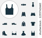 garment icons set with evening... | Shutterstock . vector #1255762660