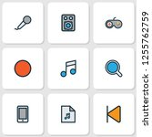 multimedia icons colored line... | Shutterstock . vector #1255762759