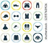 garment icons set with baseball ... | Shutterstock . vector #1255763926