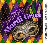mardi gras mask  colorful... | Shutterstock .eps vector #1255764886