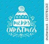 merry christmas. typography.... | Shutterstock .eps vector #1255781263