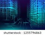 digital binary code matrix... | Shutterstock . vector #1255796863