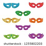set of mardi gras masks | Shutterstock .eps vector #1255802203