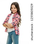 kid girl long curly hair posing ... | Shutterstock . vector #1255805029