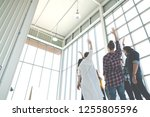rear wide view of multiethnic... | Shutterstock . vector #1255805596