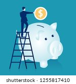 man climbing up on a ladder and ... | Shutterstock .eps vector #1255817410