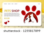 pets shop landing page website... | Shutterstock .eps vector #1255817899