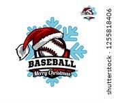 baseball santa snow flake logo...   Shutterstock .eps vector #1255818406