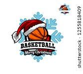 basketball santa snow flake...   Shutterstock .eps vector #1255818409
