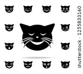 satisfied cat icon. cat smile... | Shutterstock .eps vector #1255833160