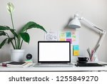 modern work table with blank... | Shutterstock . vector #1255849270