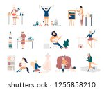 colorful flat style of various... | Shutterstock .eps vector #1255858210