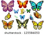 Stock vector set of colorful isolated butterflies vector 125586053